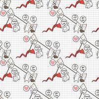 Seamless kawaii cats lifting red arrow up pattern
