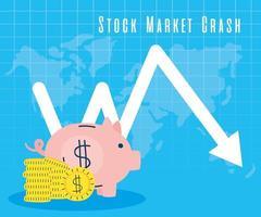 Ahorros alcancía con flecha hacia abajo, mercado de valores colapsando