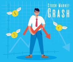 Businessman with stock market crash icon vector