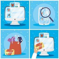 paquete de tecnología de comercio electrónico y compras en línea