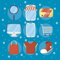 Bundle of e-commerce and online shopping technology icons