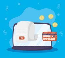 tecnología de pago en línea en la computadora portátil