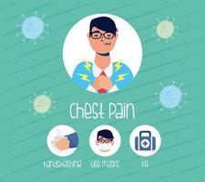 Paciente con dolor de pecho y métodos de prevención.