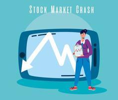 empresaria con icono de caída del mercado de valores