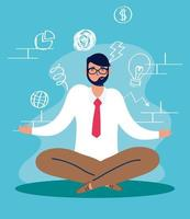 Stressed man in lotus position