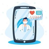 tecnología de salud en línea a través de un teléfono inteligente vector