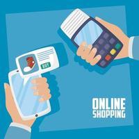 smartphone con tecnología de compra online vector