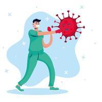 Doctor fighting virus comic characters vector