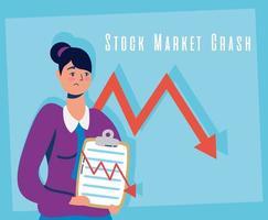 empresaria con icono de caída del mercado de valores vector