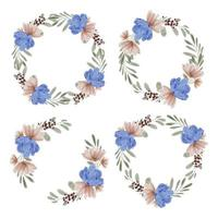 Hand painted watercolor illustration of flower wreath frame set vector