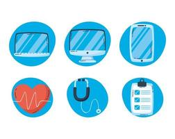 Online health technology icon set