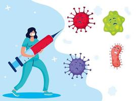 Doctor fighting virus with vaccine comic characters