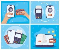 Gadgets online payment technology set vector