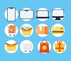 Online shopping and e-commerce icon set