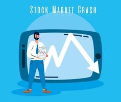 empresario con icono de caída del mercado de valores