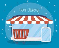 Laptop with online shopping and e-commerce technology vector