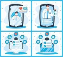 conjunto de dispositivos y tecnología de salud en línea vector