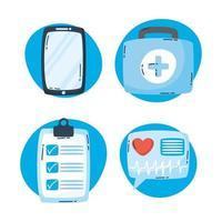 conjunto de iconos de tecnología de salud en línea vector