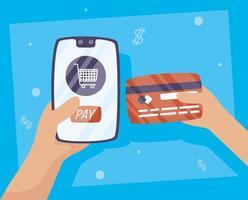tecnología de pago online con tarjeta de crédito vector