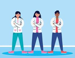 personajes de dibujos animados del personal médico