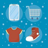 Bundle of e-commerce and online shopping technology icons vector