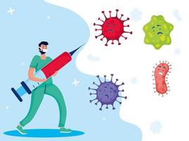 Doctor fighting virus with vaccine comic characters vector