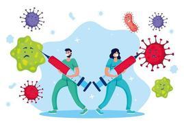 Doctors fighting virus with vaccine comic characters vector