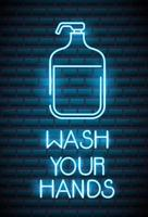 Wash your hands, coronavirus neon sign