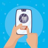 tecnología de pago online con smartphone vector