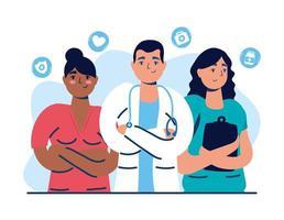 personal médico con médicos y enfermeras vector