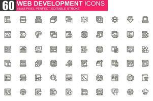 conjunto de iconos de línea delgada de desarrollo web