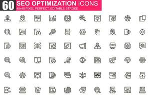 conjunto de iconos de línea fina de optimización seo