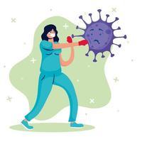Female doctor fighting virus comic characters vector