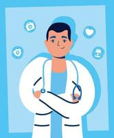 guapo médico masculino con iconos médicos