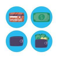 conjunto de iconos de tecnología de pago en línea