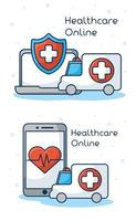 Online healthcare technology icon set