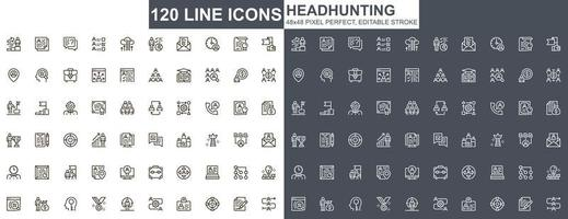 Headhunting thin line icons set