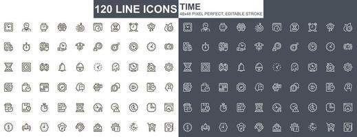 iconos de línea fina de tiempo vector