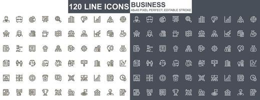 Business thin line icons set vector