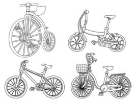 Cartoon bicycles coloring page for kids vector
