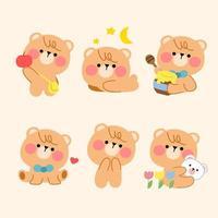 adorable juego de mascota simple oso de peluche juguetón vector