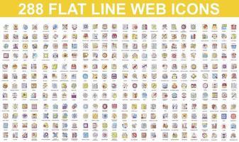 paquete de coloridos iconos de línea plana vector