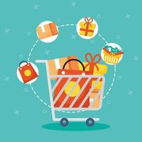 Shopping cart and commerce icons