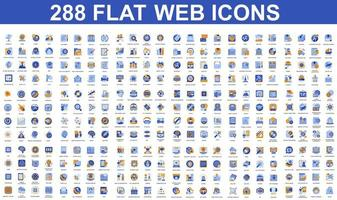 Bundle of blue and orange flat icons vector