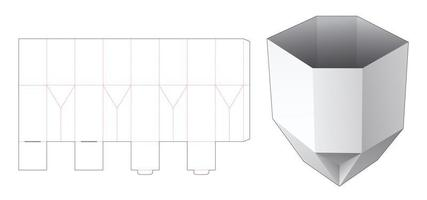 Plantilla troquelada plegable de contenedor de bocadillos con forma única vector