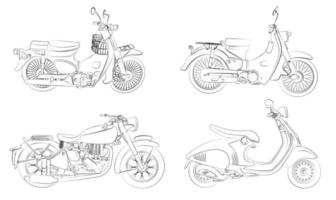 Cartoon motorcycles coloring page for kids vector