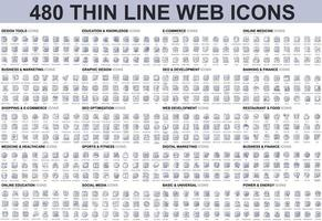 Bundle of thin line icons vector