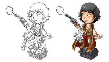 Página para colorear de dibujos animados pirata para niños vector