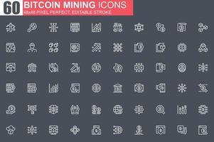 bitcoin, minería, línea fina, icono, conjunto vector
