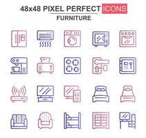 conjunto de iconos de línea delgada de muebles vector
